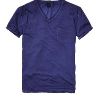 Oil-Washed Tee In Solid & Stripes - Scotch & Soda