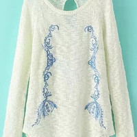White Embroidered Knitted Sweater