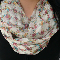 Floral Infinity Scarf. Spring Scarf. Circle Scarf. Tube Scarf. Women Accessory.