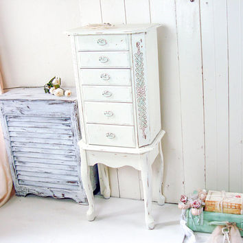 Large Jewelry Armoire, Shabby Chic Cream Jewelry Cabinet, Vintage Jewelry Box, Ornate Pink and Mint Jewelry Chest, Tall Jewelry Stand