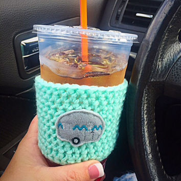 Camper RV Crochet coffee cozy~Happy Camper Coffee Cozy~TOGO cup cozy~Starbucks coffee cozy~Reuseable Cup Sleeve~handmade gift