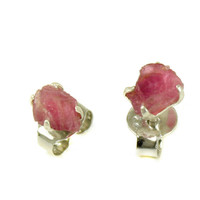 Sterling Silver Raw Rose Quartz Stud Earrings Everyday Studs Natural Pink Gemstone Solid 925 Silver Post Easter Gift Earrings