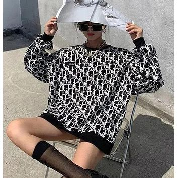 Dior new letter printing round neck loose sweater women's mid-length sweater long sleeve women's jacket
