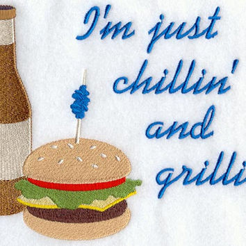 I'm Just Chillin' and Grillin' BBQ Apron Father's Day Gift, Birthday Gift, Host Gift