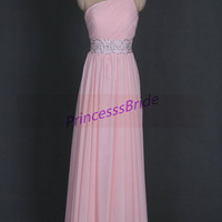 2014 longpink chiffon prom dresses with rhinestones,cheap elegant homecoming dress,floor length one shoulder gowns for holiday party.