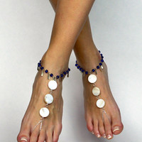Gypsy Bohemian Barefoot Sandals Bare Foot Sandals Anklet Foot Jewelry Belly Dancing Shoes Yoga Sandals Boho Chic Anklet White and Navy Blue