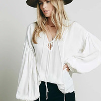 Solid Color Bandage V-Neck Long Sleeve Loose blouse