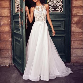Hot Selling Lace Sleeveless Neckless Wedding Dresses and Long Skirts