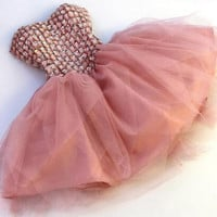 Pink Strapless Beading Tulle Homecoming Dress