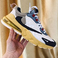 Travis Scott x Air Max 270 React Contrast Sneakers Shoes Yellow Gold