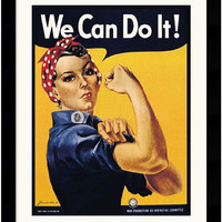 "0-017368>25x31"" Howard Miller Rosie The Riveter We Can Do It Framed Art Print Paper"