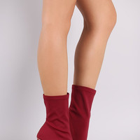 Lycra Pointy Toe Round Heeled Boots