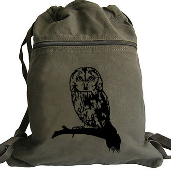 Owl Canvas Backpack - Drawstring Book Bag