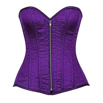Daisy Corsets Top Drawer Two-Tone Purple Brocade Steel Boned Overbust Corset