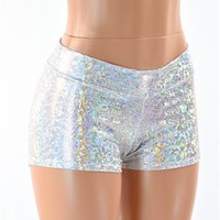 Midrise Silver on White Shattered Glass Holographic Metallic Spandex Shorts