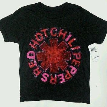 Boy's Youth Red Hot Chili Peppers RHCP SCRIBBLE ASTERISK T-Shirt NWT Authentic