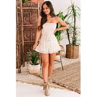 In The Meantime Strapless Smocked Floral Romper (Cream)