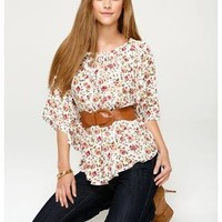 DITSY PRINT FLUTTER SLEEVE TOP