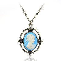 Movie Jewelry The Vampire Diaries Katherine Vintage Cameo Pendant Necklace For Women Charm Gift