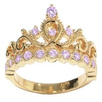 JewelsObsession's 14K Gold Princess Crown CZ Alexandrite Ring (June Birthstone)