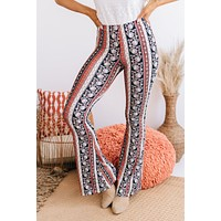 Stick Around Printed Bell Bottoms (Coral)