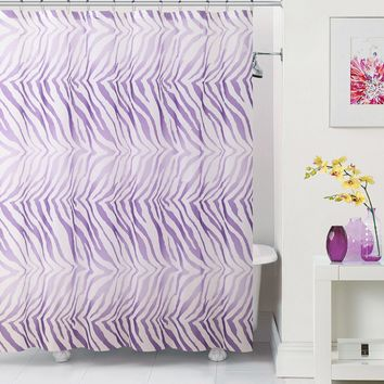 "Royal Bath Purple Zebra PEVA Non-Toxic Shower Curtain - 72"" x 72""with 12 Matching Roller Hooks"