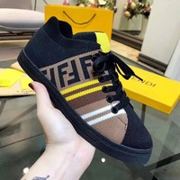 FENDI Fashion Women Men Casual Knitting Breathable Sport Running Shoes Sneakers Black