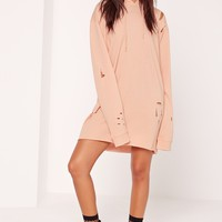 Missguided - Petite Nude Ripped Hooded Sweater Dress