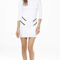 White Double Zip Sheath Dress from EXPRESS