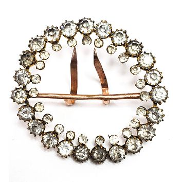 Large antique Victorian clear paste double row round rhinestone sash buckle