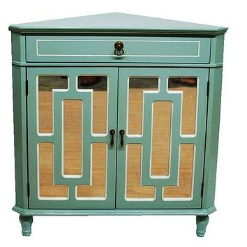 """Display Cabinet - 31"""" X 17"""" X 32"""" Light Blue MDF, Wood, Mirrored Glass Corner Cabinet with a Drawer and Doors"""