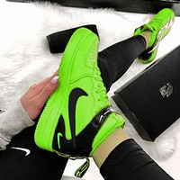NIKE AIR FORCE 1 MID 07 Tide brand simple version OW high-top sports shoes Fluorescent green
