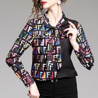 FENDI Hot Sale Women Casual F Letter Print Long Sleeve Lapel Shirt Top