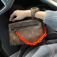 Louis Vuitton Mini Soft Trunk Monogram Brown/Orange Chain Bag Shoulder Bag Camera Bag
