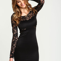 Black Shimmer Lace Bodycon Dress