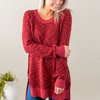 Grace & Lace Honeycomb Knit Sweater - Earth Red