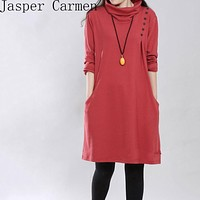 Free shipping women dress solid high-necked casual loose style clothing turtleneck dresss for winter and spring dresses 30