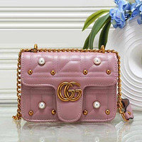 Gucci Popular Women Shopping Leather Metal Chain Satchel Shoulder Bag Crossbody Pink I