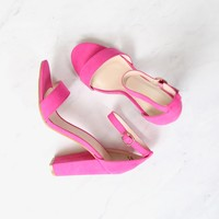 final sale - Fuchsia / Neon Pink Suede Ankle Strap Heels