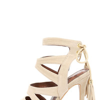 Dance Circle Nude Suede Caged Heels