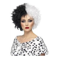 Cruella Deville Wig Adult Womens Halloween Costume Accessory Fancy Dress