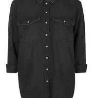 MOTO Oversized Denim Shirt - Washed Black
