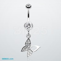 Butterfly Allure Multi-Gem Belly Button Ring