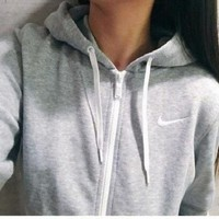 Fashion Letter Embroidery Hooded Cardigan Zipper Coat