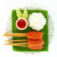 Kantiya Miniatures Dollhouse Barbie Food : Realistic Thai Food Collection : Grilled Pork with Sticky Rice , 2 Inches approx.