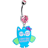 Pink Gem Save the Hooters Awareness Owl Belly Ring   Body Candy Body Jewelry