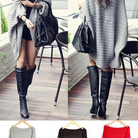 Lady Batwing Casual Loose Sweater Coat Knitting Long Cardigan Shawl Outwear = 1920412612