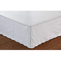"""Greenland Home Fashions Accessories Collection Paisley White Color Full Bed Skirt 18"""", Quiltedd"""