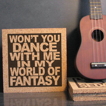 NOUVELLE VAGUE - Won't You Dance With Me In My World Of Fantasy - The Lords of the New Church - Cork Lyric Wall Art and Hot Pad Trivet