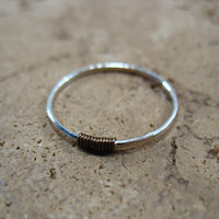 Thin Hammered Silver with Gunmetal 18g Stacking Ring